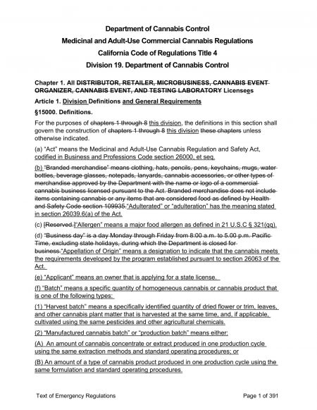 DCC TEXT OF REGULATIONS page 1
